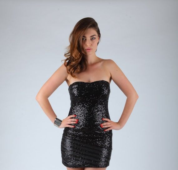 Black Mini Dress Short Prom Dress Sequin Dress Strapless Etsy
