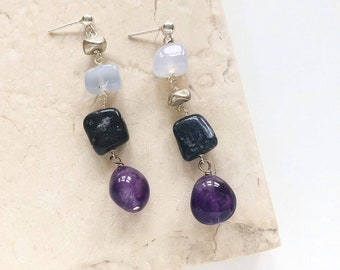 Amethyst, Lapis, Chalcedony and Sterling Silver Posts / Purple Blue and Silver Irregular Smooth Nugget Boho Asymmetric Statement Earrings