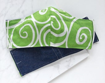 Reversible Two Layer Cotton Face Mask, Reusable, Machine Washable, Heavyweight in Lime Green, White and Dark Denim Blue, Lightweight Elastic