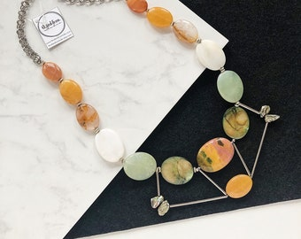 Mookaite Jasper, Green Fresh Water Pearl, Mother of Pearl, Prehnite, White Jade, Citrine and Peach Moonstone Adjustable Statement Necklace