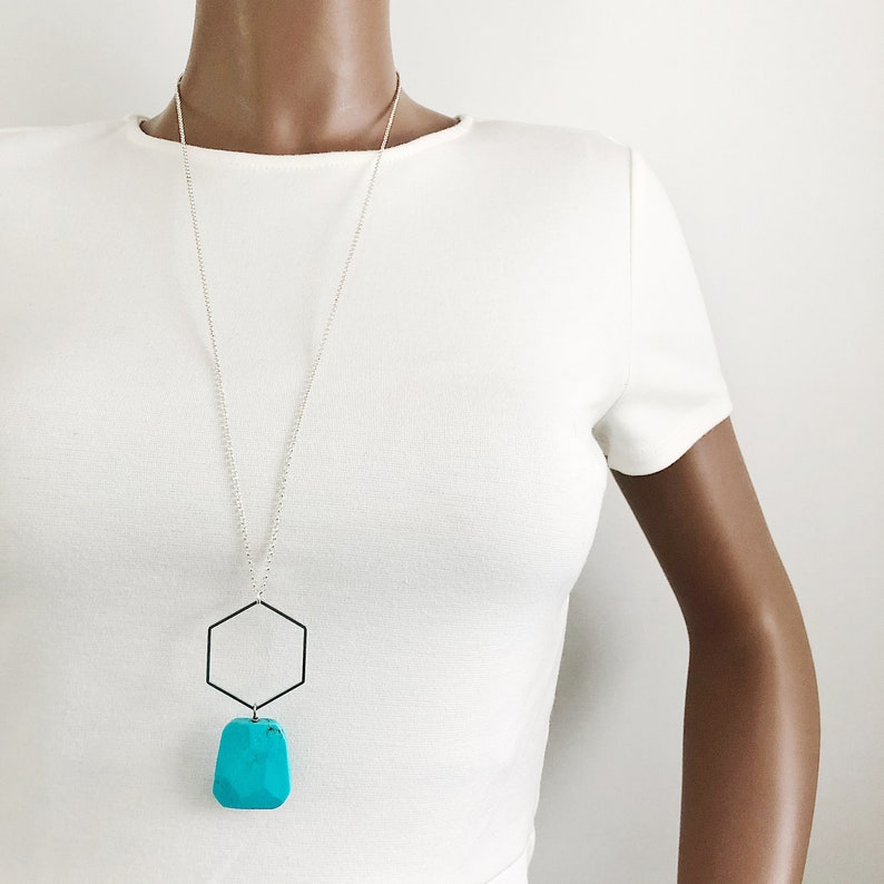Faceted Flat Turquoise Nugget and Silver Hexagon Long Necklace  Geometric Blue and Sterling Plated Nickel-Free Chain Statement Necklace
