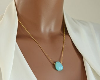 Bright Blue Chalcedony Hand-Cut Teardrop Necklace on 22K Vermeil or Sterling Silver Fine Chain, Irregular Shaped Smooth Tear Drop Necklace