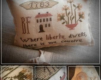 Where liberty dwells...  / Primitive cross stitch pattern