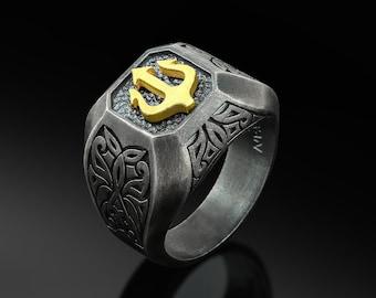 Oxidized HANDMADE Ring-GEOMETRIC Ring-Mens Engagement Ring-FANTASY Signet Ring-Signet Ring-Sci Fi-Futuristic-Blue Stone Ring-Extropic