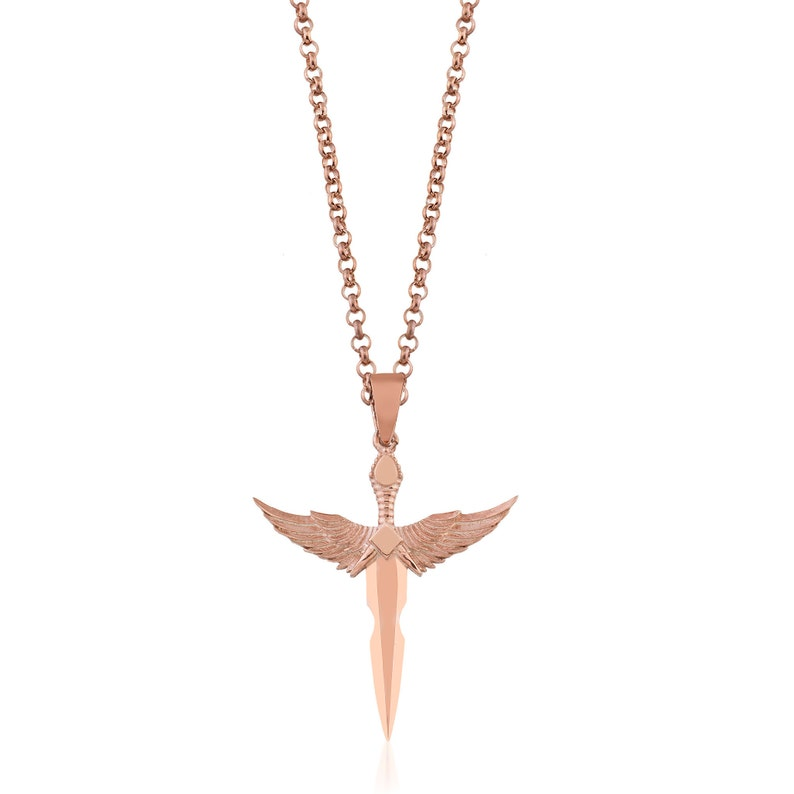 Angel Wings Necklace Memorial Urn Necklace Sword Necklace Angel Wing Charm Angel Wing Jewelry Warrior Necklace Dagger Necklace
