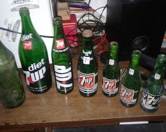 Rare Vintage 7up bottles