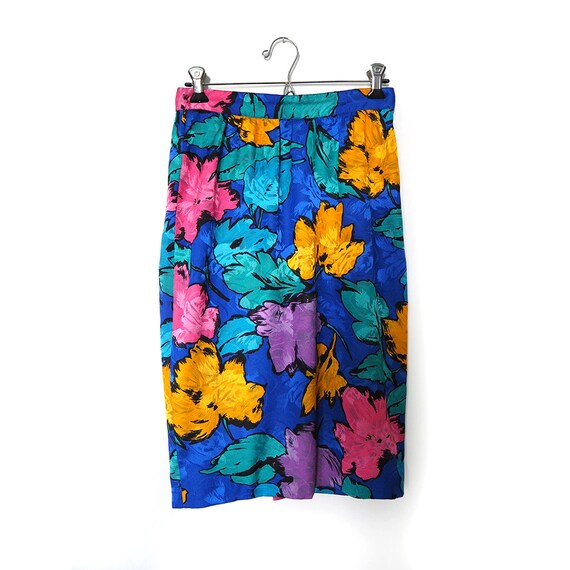 Vintage 80s High Waist Flower Pencil Skirt . Retro