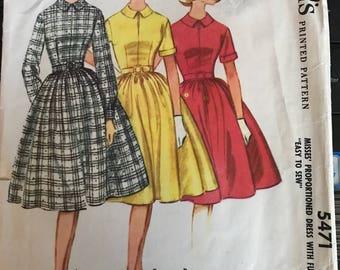 Vintage 60s McCall's 5471 Dress Pattern-Size 14 (34-26-36)