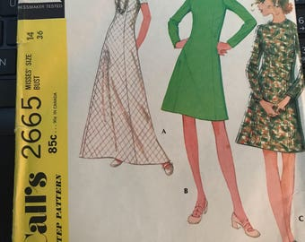Vintage 70s McCall's 2665 Dress Pattern-Size 14 (36-27-38)