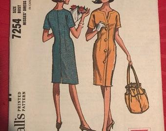 Vintage 60s McCall's 7254 Dress Pattern-Size 18 (38-30-40)