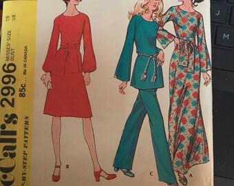 Vintage 70's McCall's 2996 Dress Pattern-Size 16 (38-29-40)