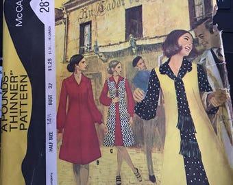 Vintage 70s McCall's 2818 Dress Pattern-Size 14 1/2 (37-30-39)
