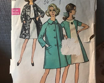 Vintage 60s Simplicity 8591 Dress/Coat Pattern-Size 16 (38-29-40)