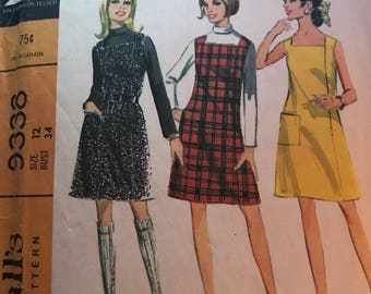 Vintage 60s McCall's 9338 Dress Pattern-Size 12 (34-25 1/2-36)