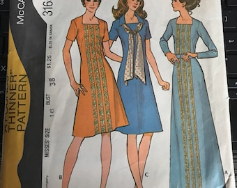 Vintage 70s McCall's 3165 Dress Pattern-Size 16 (38-29-40)