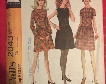Vintage 60s McCall's 2043 Dress Pattern-Size 14 (36-27-38)