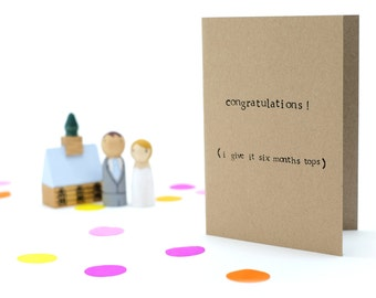 Humorous / Funny Wedding Card - 100% Recycled Card