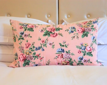 Large Pink Floral Cushion | Duck Feather Filled