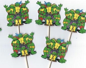 12 Ninja Turtles inspiried Cupcake Toppers, Party Picks, Turtle Cupcake, Cupcakes, Theme Birthday Decor, Shower, Celebration. TMNT