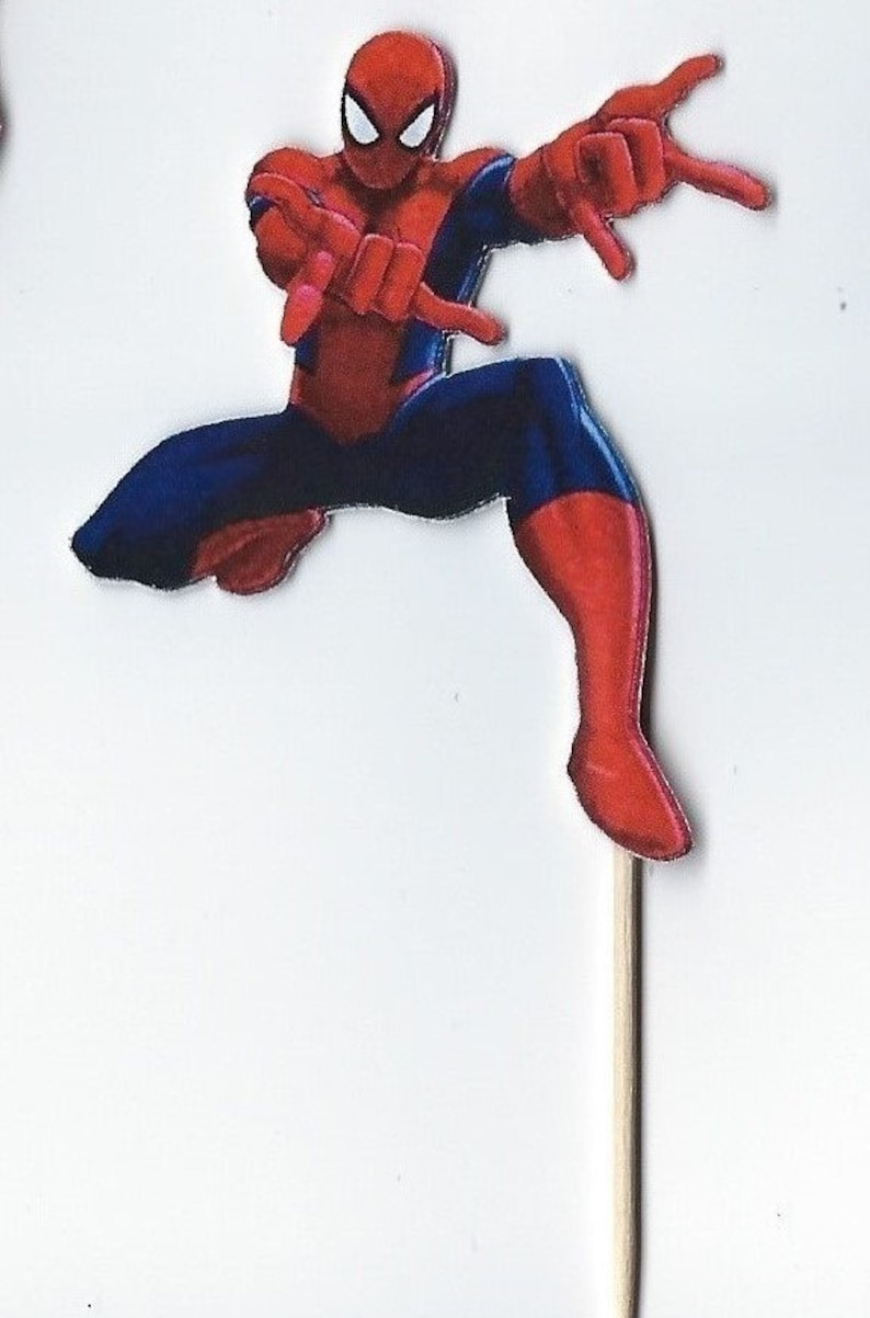 Cupcake Topper 12 Spiderman Inspired Party Picks Food Picks Die Cut Punch Cardstock Spiderman Toothpicks