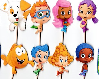 12 Bubble Guppies Cupcake toppers- Bubble Guppies, Bubble Guppie cupcake picks, Bubble Guppie decoration Birthday Party Pick