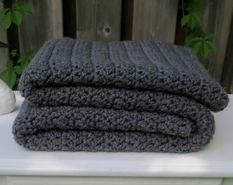 Blanket / Chunky Crochet Throw / 50 x 60 / Grey Blanket / Crochet Blanket / Warm Blanket / Grey / Crochet Throw / Throw / Afghan