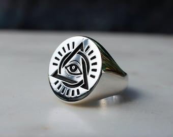 ALL SEEING EYE , Illuminati Ring , Silver Signet Ring , All Seeing Eye Ring