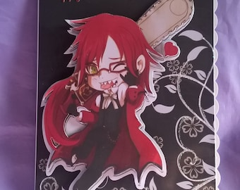 Grell 3d Birthday Cardcharacter From The Japanese Anime Series Black Butlera Name Age Or Family Member Can Be Added Free When Bought