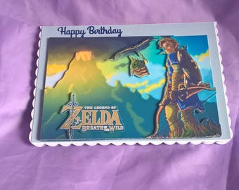 Legend Of Zelda Themed 3d Birthday Card With Blue Glitter Letteringa Name Age Or Family Member Can Be Added Free Charge If You Ask Me