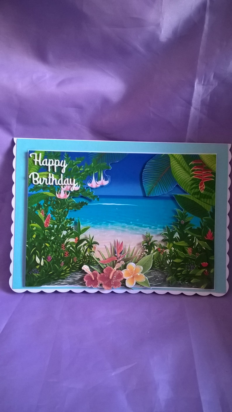 3d Beach Scene Birthday Card With Exotic Flowersa Name Age Or