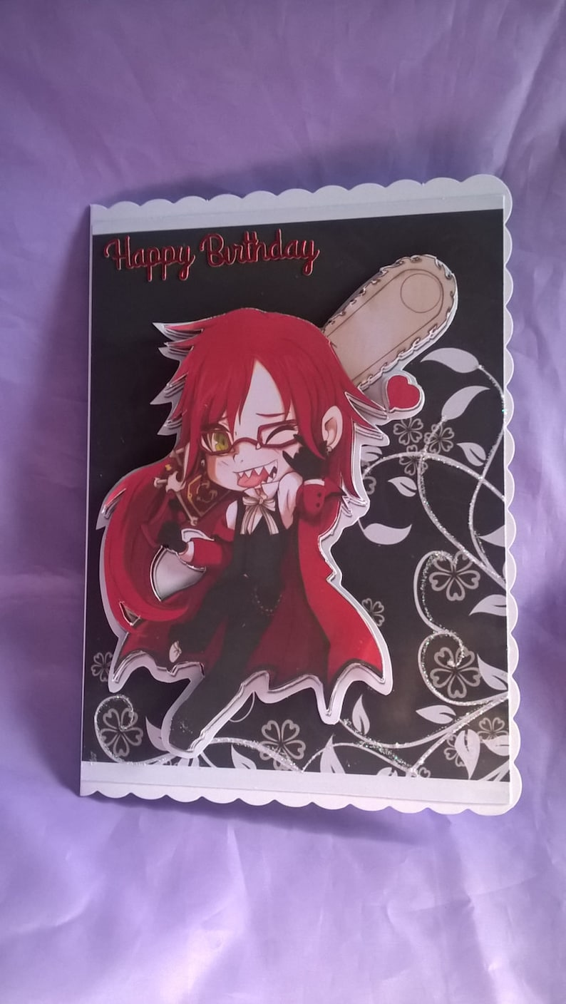 Grell 3d Birthday Cardcharacter From The Japanese Anime Series Black Butler
