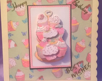 cute little cupcakes birthday card,suitable for anyone who loves cupcakes and glittery things,I can add a name,age or family title.