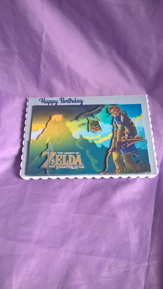 Legend Of Zelda Themed 3d Birthday Card With Blue Glitter