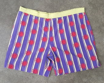 Vintage Swim Trunks - 90s 80s Men's Shorts - Sport - Swimwear - Bathing Suit - Red Suns Stripes