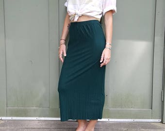 Vintage Green Maxi Skirt The Limited Size Small Pleated Pleats