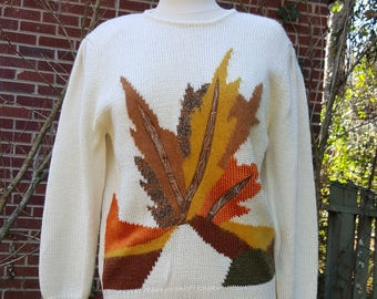 Vintage Sweater Autumn Leaves Oversized Slouchy Ugly Christmas Sweater