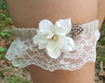 Vintage Wedding Garter Lace Flower Feather Bohemian