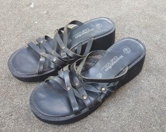 9d9c38874 Vintage 90s Sandals - Black Leather Strappy Platform Shoes - Montego Bay  Club Leather Collection - Low Wedge Heel - High Heel Sandal