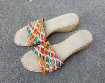 f7e188672 Vintage Cork Wedge Sandals - Rainbow Straw Strappy Platform Shoes - Low Wedge  Heel - High Heel Sandal