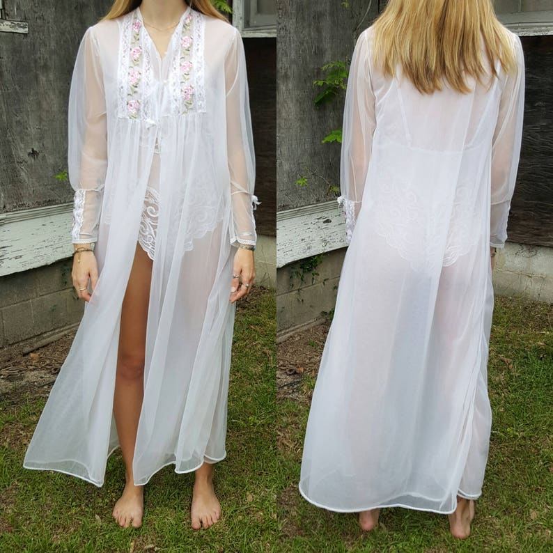Vintage Sheer Robe White Nightgown Floral Long Sleeve  264198a26