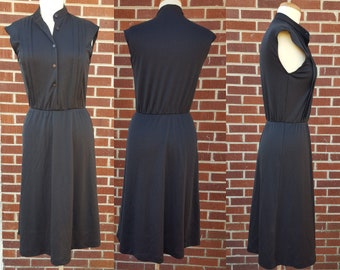 Vintage Black Midi Dress - Union Made - Tank Top - Sleeveless - Mid Length - Maxi - Made in USA - Pleated Button Down