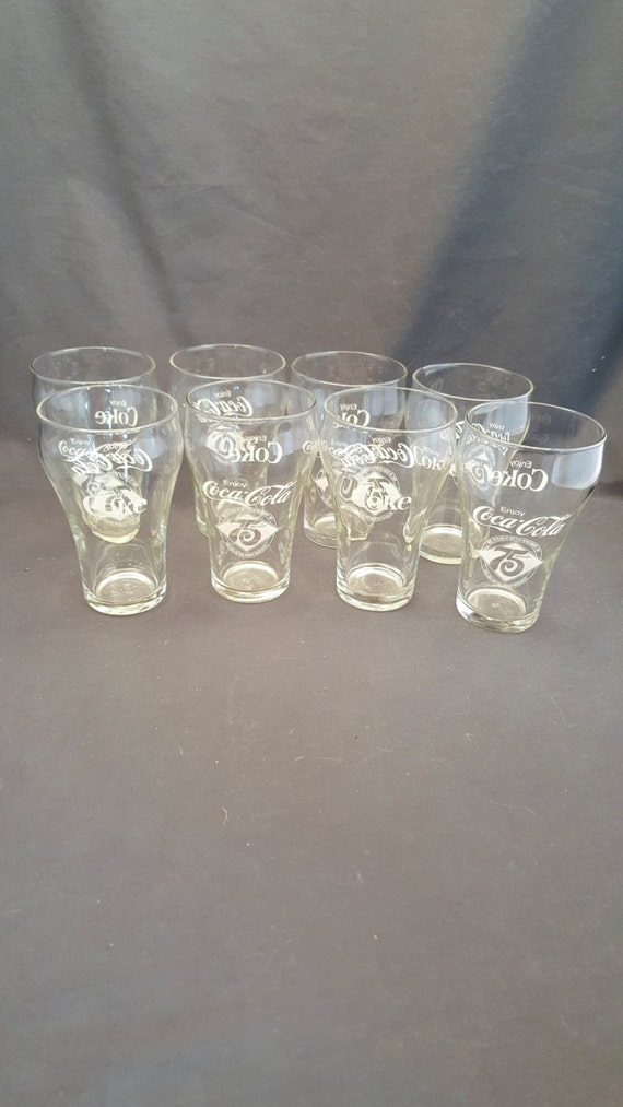 Set Of 8 Vintage Coca Cola 75th Anniversary Glass Cups Etsy