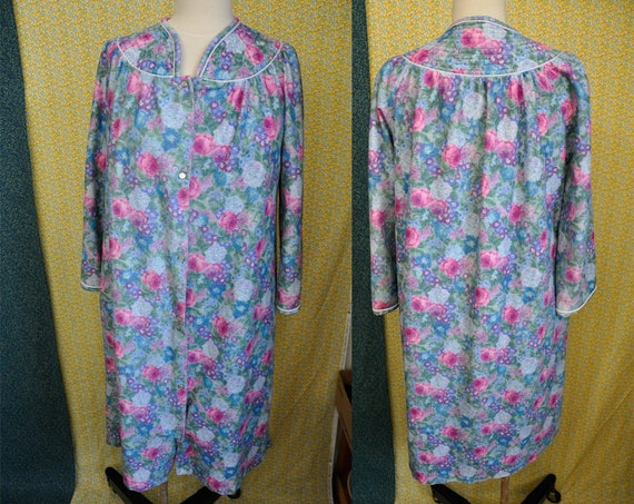 Vintage Floral Robe Snap Button Down Nightgown Night Gown  03e7fe07a