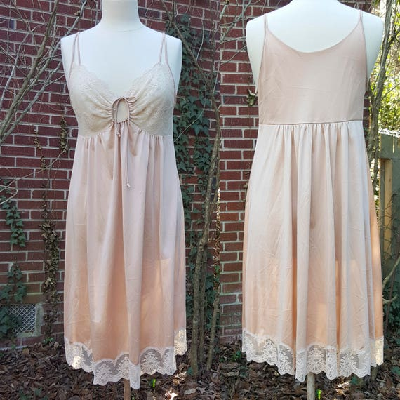 Vintage Shadowline Nightgown Slip Lace Lingerie Night Gown   Etsy