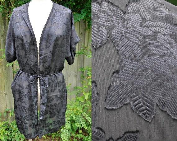 Vintage Black Floral Kimono Sheer Lady Cameo Dallas  2a9619c94
