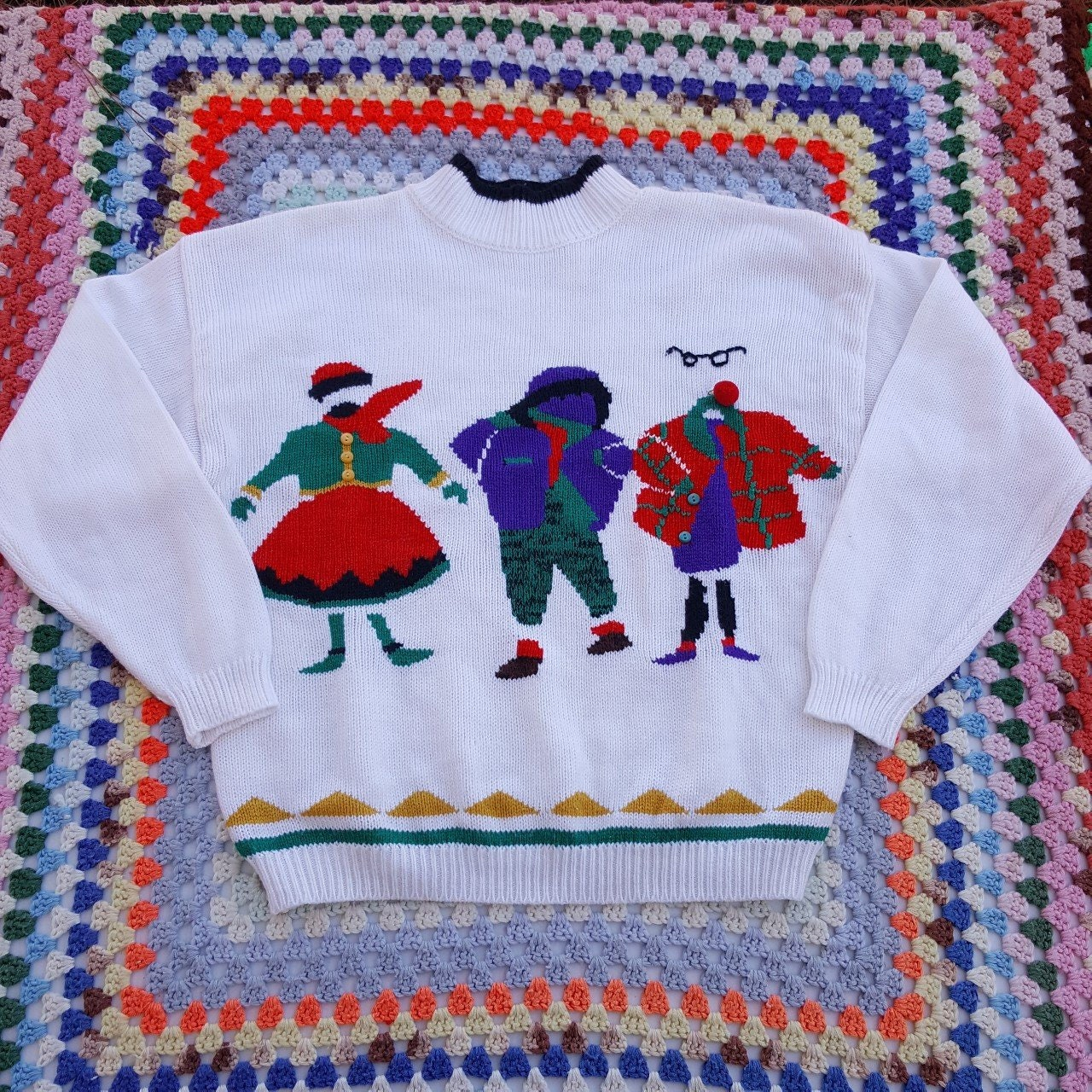 2fe9e0f66fed Vintage 90s Sweater - 80s Grunge Oversized Slouchy Ugly Christmas Sweater -  Holiday Xmas Boyfriend Shirt - Colorblock Buttons