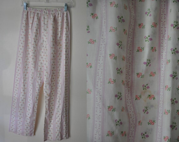 Vintage Floral Pajama Pants Striped PJ Bottoms Women s  bdc2d45ad