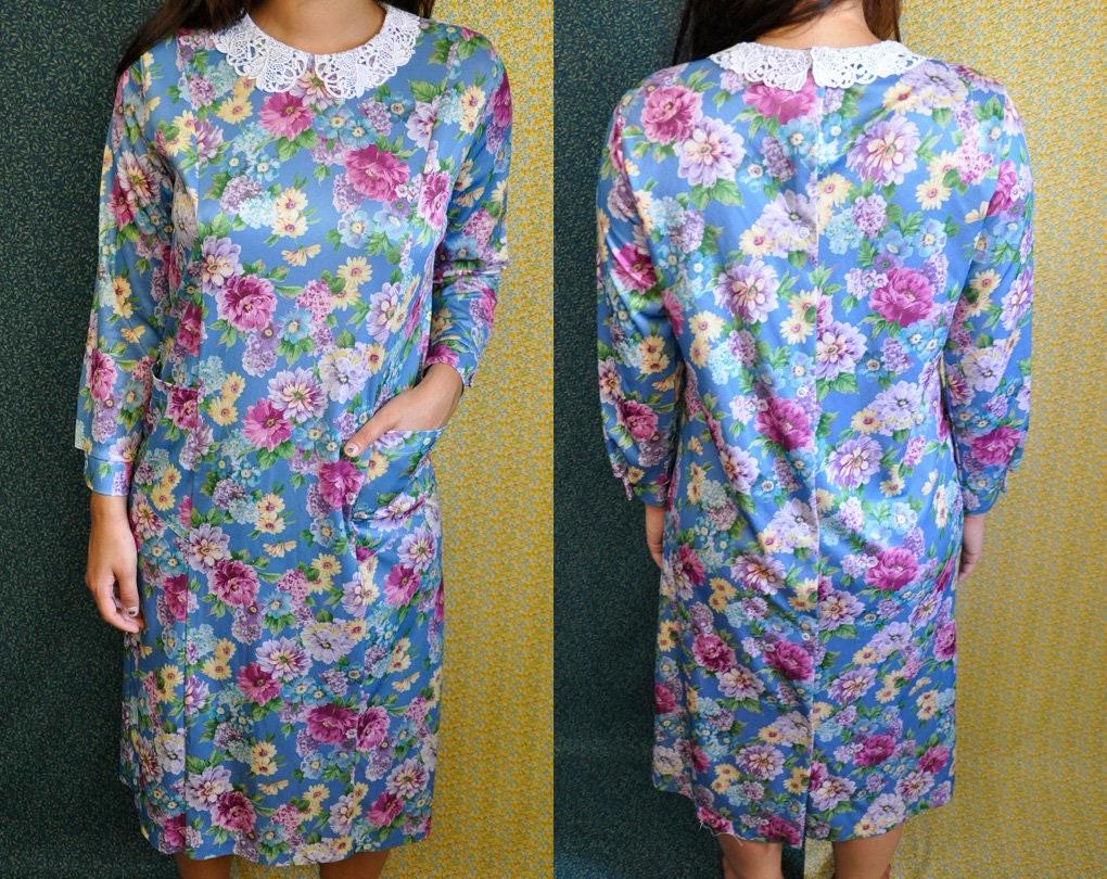 Vintage Floral Dress Buck   Buck Snap Button Back 3 4  375d833d7