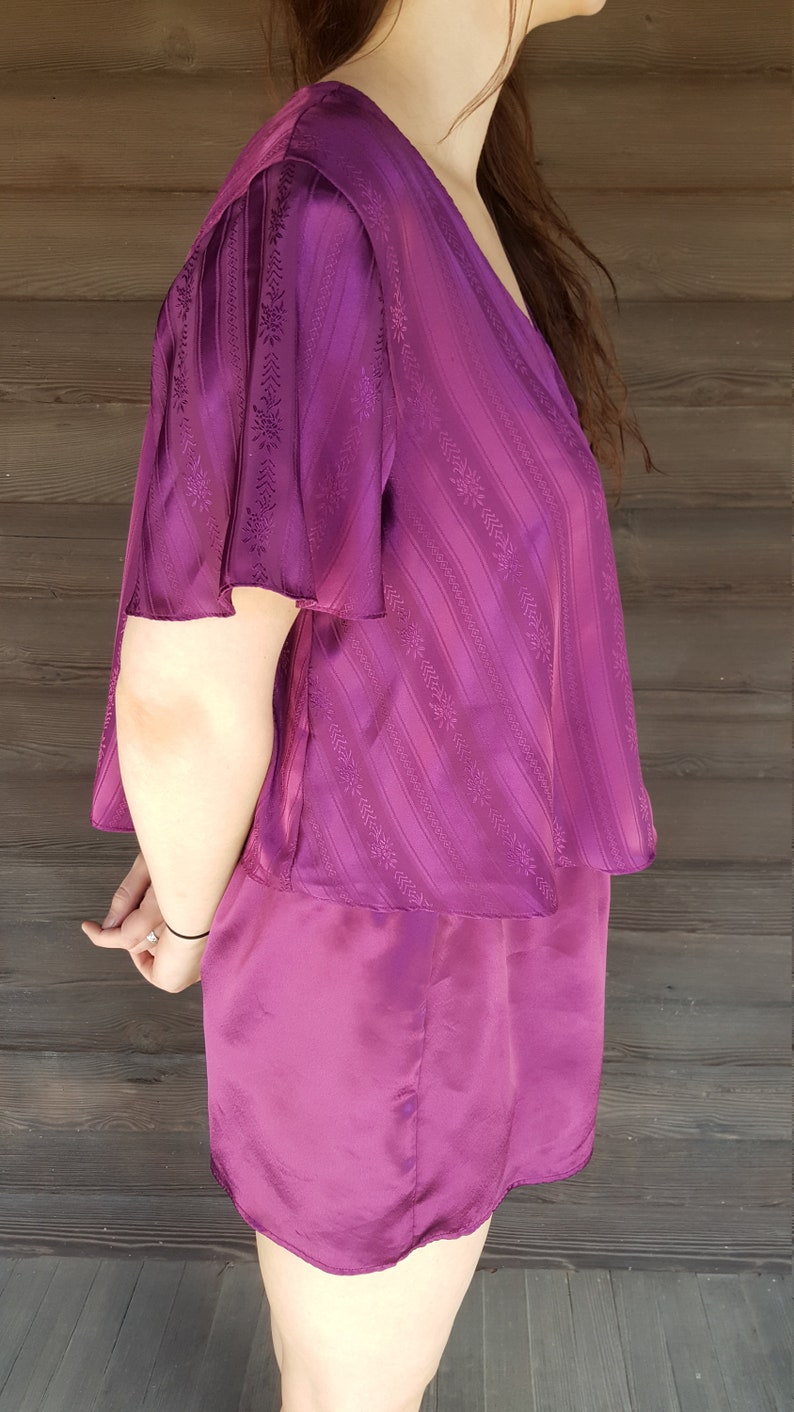 b732188d60e64 Vintage Victoria's Secret Pajama Set - Silky Purple Pajamas - PJs - Short  Sleeve Shorts - Size Small - Lingerie Set