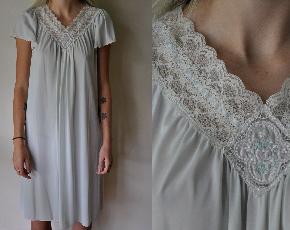 03a327cc72b Vintage Blue Night Gown Dress - Shadowline - Embroidered Nightgown -  Lingerie - Slip Dress - Short Sleeve - Lace Trim